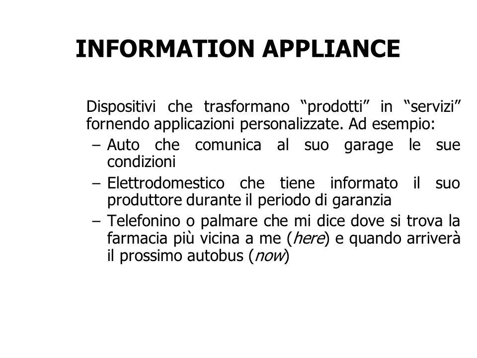 INFORMATION APPLIANCE Dispositivi che trasformano prodotti in servizi fornendo applicazioni personalizzate. Ad esempio: – Auto che comunica al suo gar