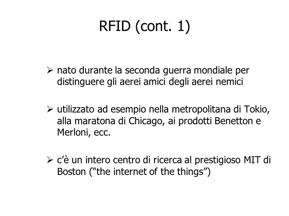 RFID (cont. 1) nato durante la seconda guerra mondiale per distinguere gli aerei amici degli aerei nemici utilizzato ad esempio nella metropolitana di