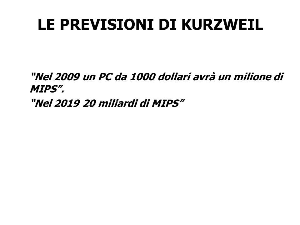 LE PREVISIONI DI KURZWEIL Nel 2009 un PC da 1000 dollari avrà un milione di MIPS. Nel 2019 20 miliardi di MIPS