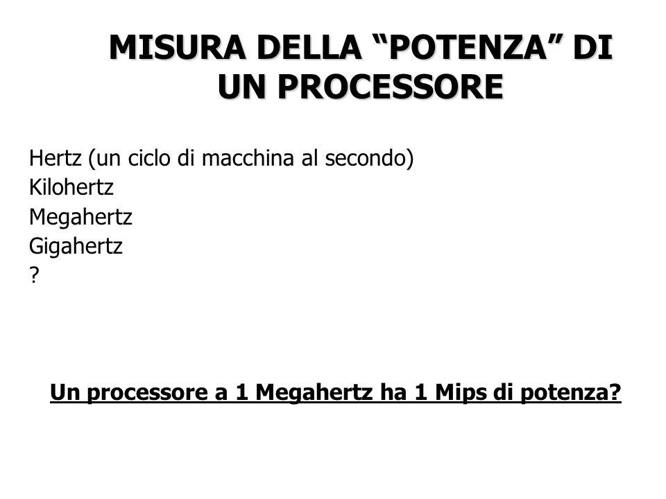 MISURA DELLA POTENZA DI UN PROCESSORE Hertz (un ciclo di macchina al secondo) Kilohertz Megahertz Gigahertz ? Un processore a 1 Megahertz ha 1 Mips di