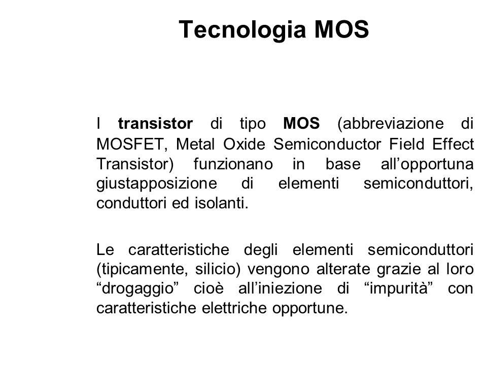 Tecnologia MOS I transistor di tipo MOS (abbreviazione di MOSFET, Metal Oxide Semiconductor Field Effect Transistor) funzionano in base allopportuna g