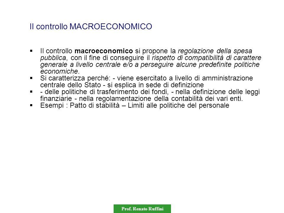 Prof. Renato Ruffini Il controllo MACROECONOMICO Il controllo macroeconomico si propone la regolazione della spesa pubblica, con il fine di conseguire
