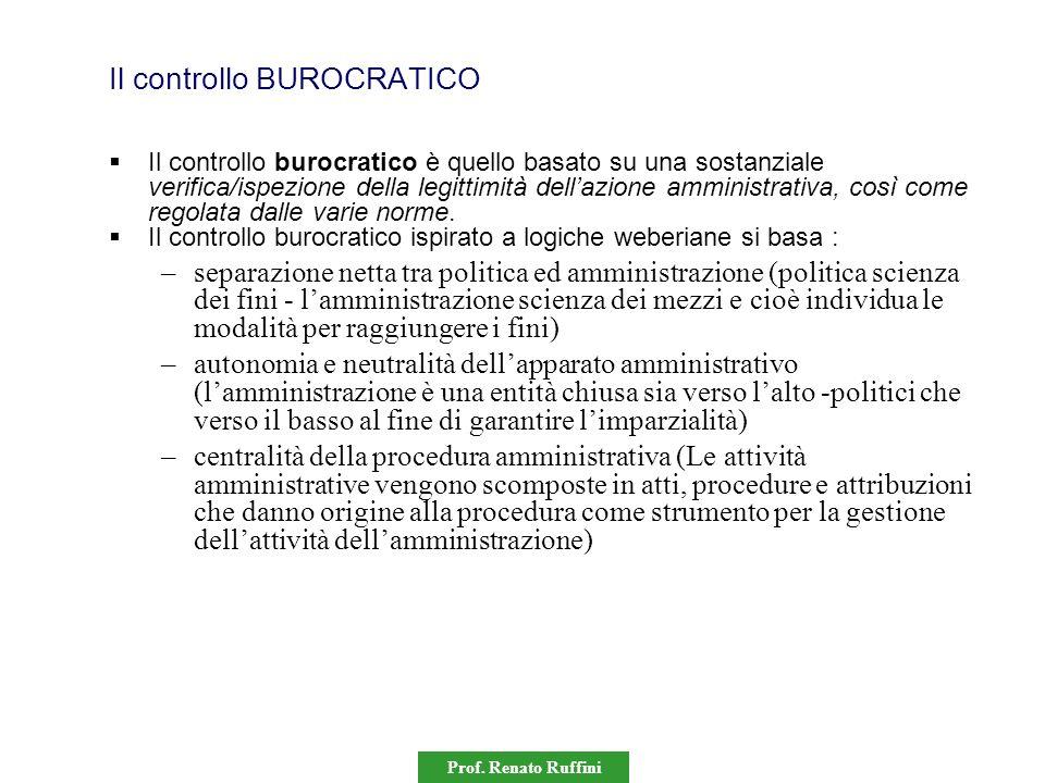 Prof. Renato Ruffini Il controllo BUROCRATICO Il controllo burocratico è quello basato su una sostanziale verifica/ispezione della legittimità dellazi