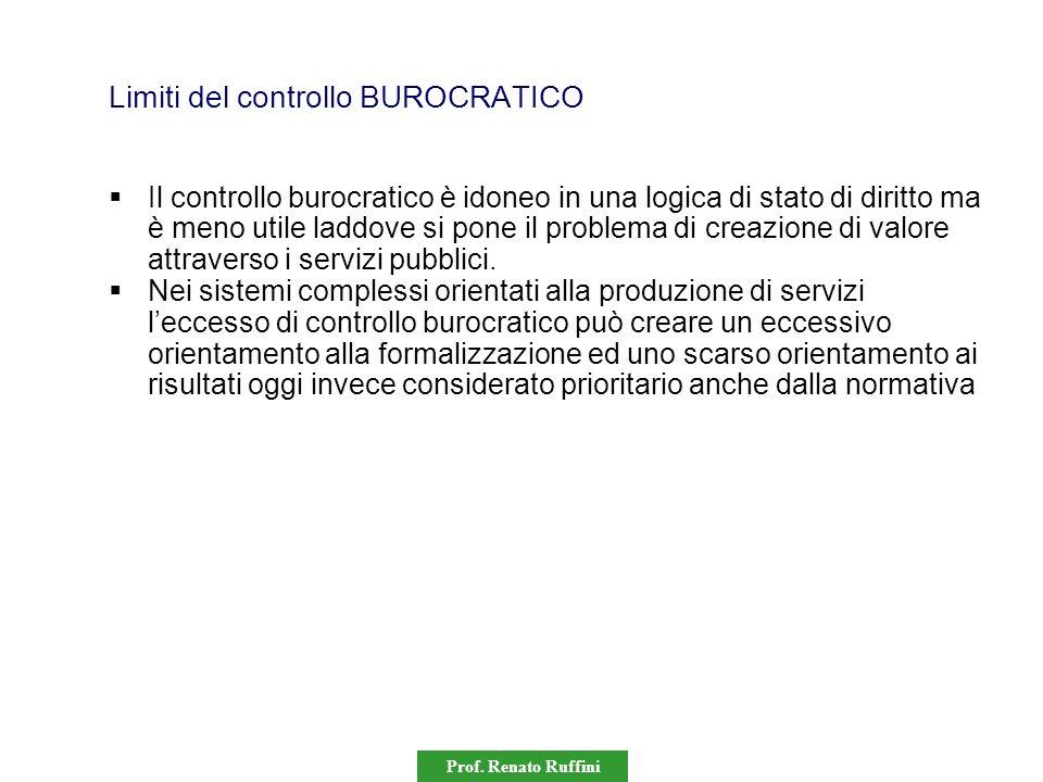 Prof. Renato Ruffini Limiti del controllo BUROCRATICO Il controllo burocratico è idoneo in una logica di stato di diritto ma è meno utile laddove si p