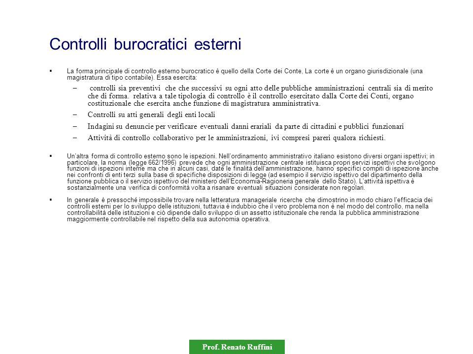 Controlli burocratici esterni La forma principale di controllo esterno burocratico è quello della Corte dei Conte, La corte è un organo giurisdizional