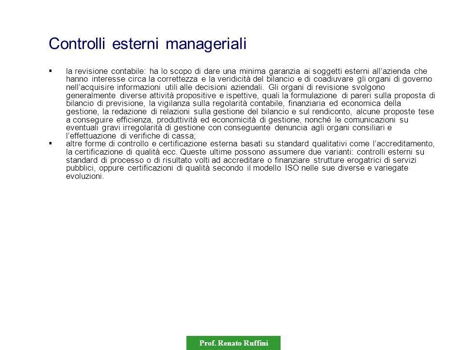 Prof. Renato Ruffini Controlli esterni manageriali la revisione contabile: ha lo scopo di dare una minima garanzia ai soggetti esterni allazienda che
