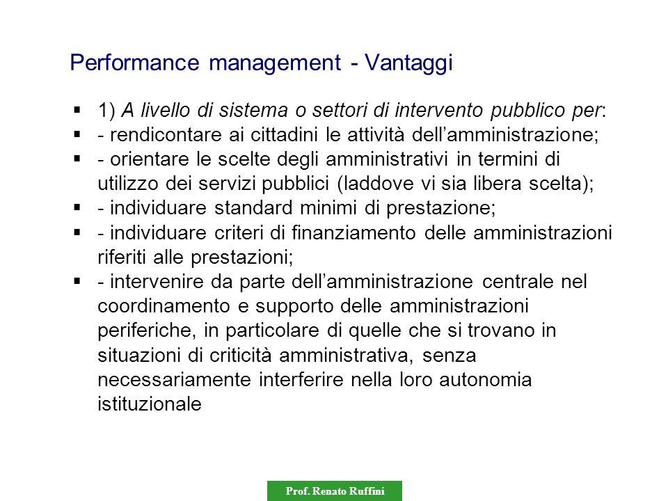 Prof. Renato Ruffini Performance management - Vantaggi 1) A livello di sistema o settori di intervento pubblico per: - rendicontare ai cittadini le at