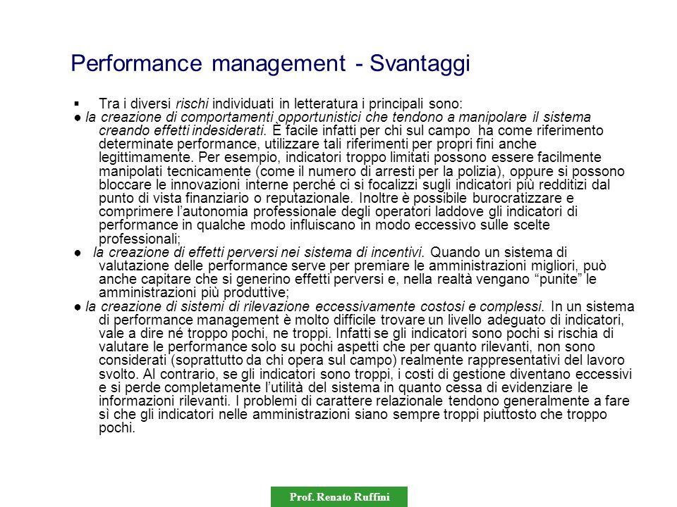 Prof. Renato Ruffini Performance management - Svantaggi Tra i diversi rischi individuati in letteratura i principali sono: la creazione di comportamen