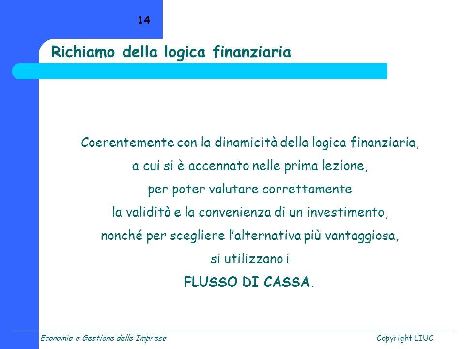 Economia e Gestione delle ImpreseCopyright LIUC 14 Coerentemente con la dinamicità della logica finanziaria, a cui si è accennato nelle prima lezione,