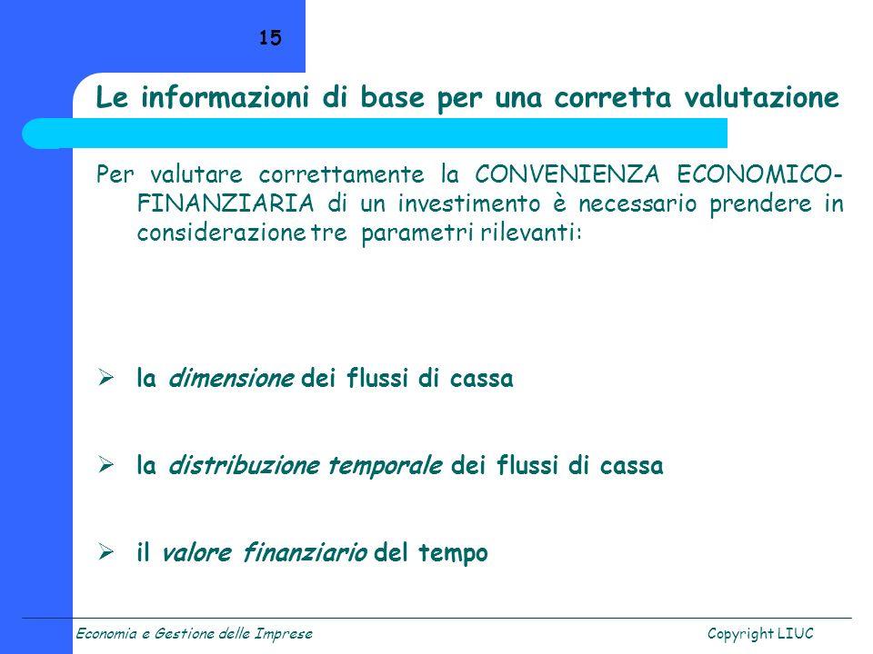 Economia e Gestione delle ImpreseCopyright LIUC 15 Per valutare correttamente la CONVENIENZA ECONOMICO- FINANZIARIA di un investimento è necessario pr