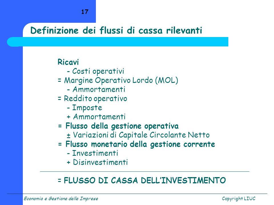 Economia e Gestione delle ImpreseCopyright LIUC 17 Ricavi - Costi operativi = Margine Operativo Lordo (MOL) - Ammortamenti = Reddito operativo - Impos