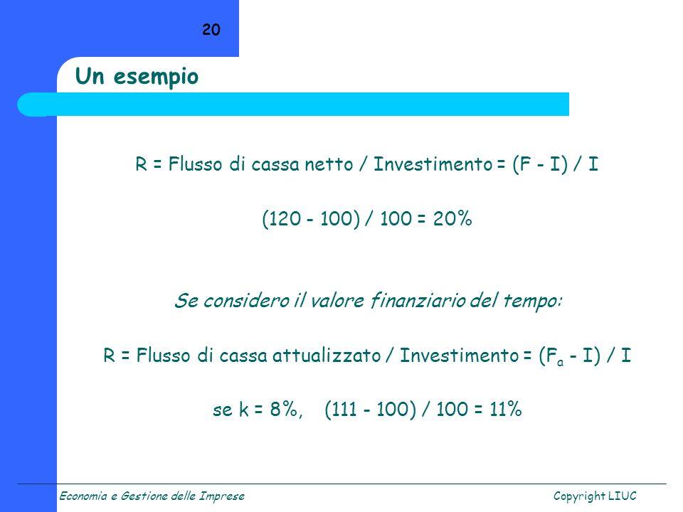 Economia e Gestione delle ImpreseCopyright LIUC 20 R = Flusso di cassa netto / Investimento = (F - I) / I (120 - 100) / 100 = 20% Se considero il valo