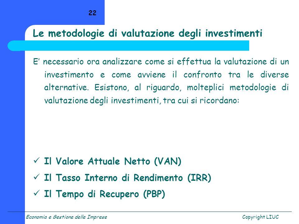 Economia e Gestione delle ImpreseCopyright LIUC 22 E necessario ora analizzare come si effettua la valutazione di un investimento e come avviene il co