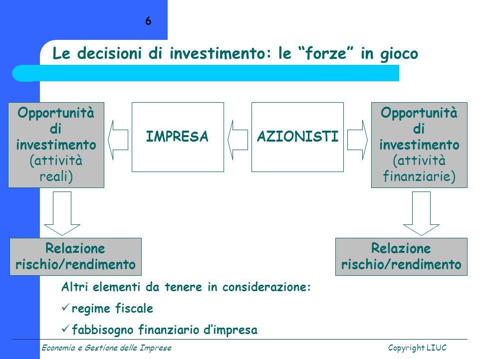 Economia e Gestione delle ImpreseCopyright LIUC 6 Opportunità di investimento (attività reali) IMPRESAAZIONISTI Opportunità di investimento (attività