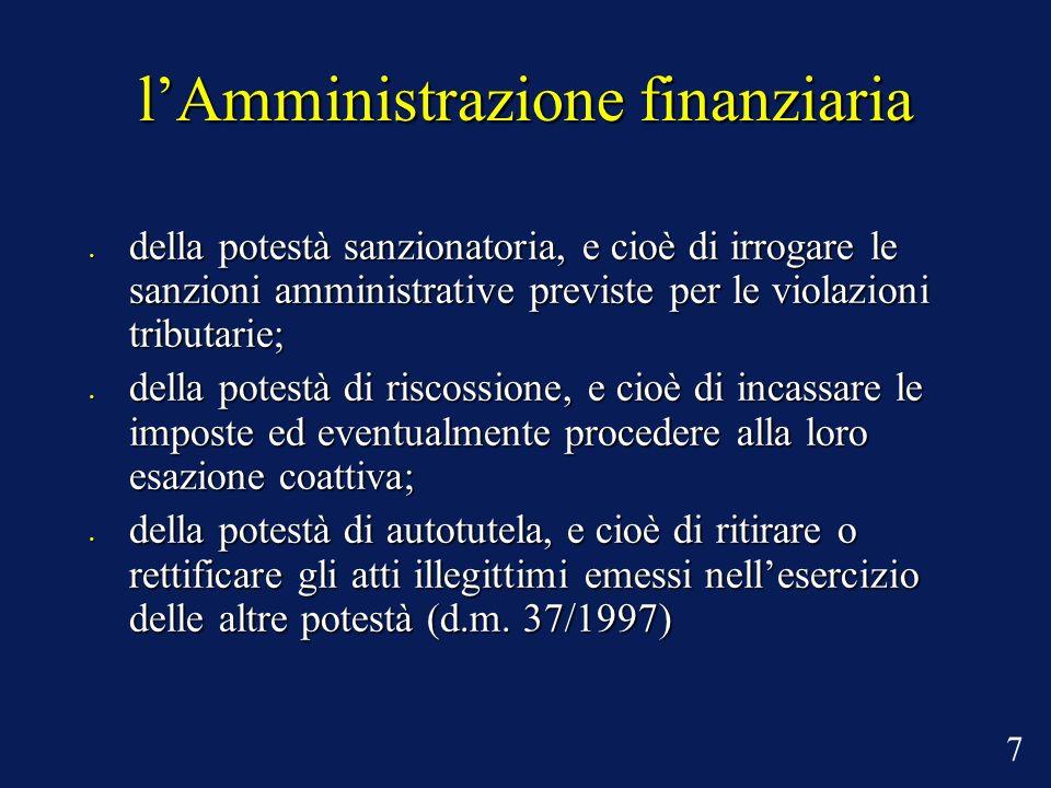 lAmministrazione finanziaria della potestà sanzionatoria, e cioè di irrogare le sanzioni amministrative previste per le violazioni tributarie; della p