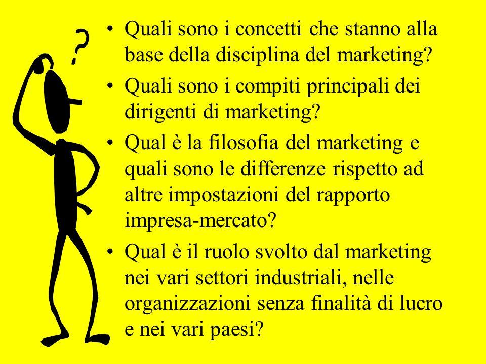 Quali sono i concetti che stanno alla base della disciplina del marketing? Quali sono i compiti principali dei dirigenti di marketing? Qual è la filos