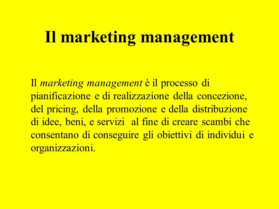 Il marketing management Il marketing management è il processo di pianificazione e di realizzazione della concezione, del pricing, della promozione e d
