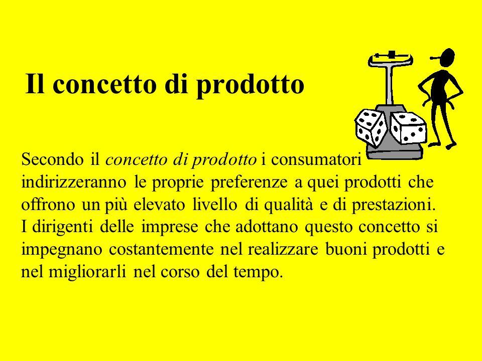 Il concetto di prodotto Secondo il concetto di prodotto i consumatori indirizzeranno le proprie preferenze a quei prodotti che offrono un più elevato livello di qualità e di prestazioni.