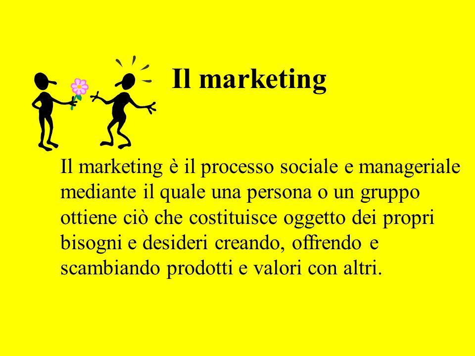 Il marketing Il marketing è il processo sociale e manageriale mediante il quale una persona o un gruppo ottiene ciò che costituisce oggetto dei propri bisogni e desideri creando, offrendo e scambiando prodotti e valori con altri.