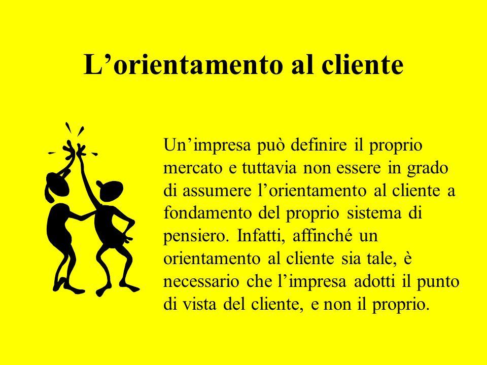 Lorientamento al cliente Unimpresa può definire il proprio mercato e tuttavia non essere in grado di assumere lorientamento al cliente a fondamento del proprio sistema di pensiero.