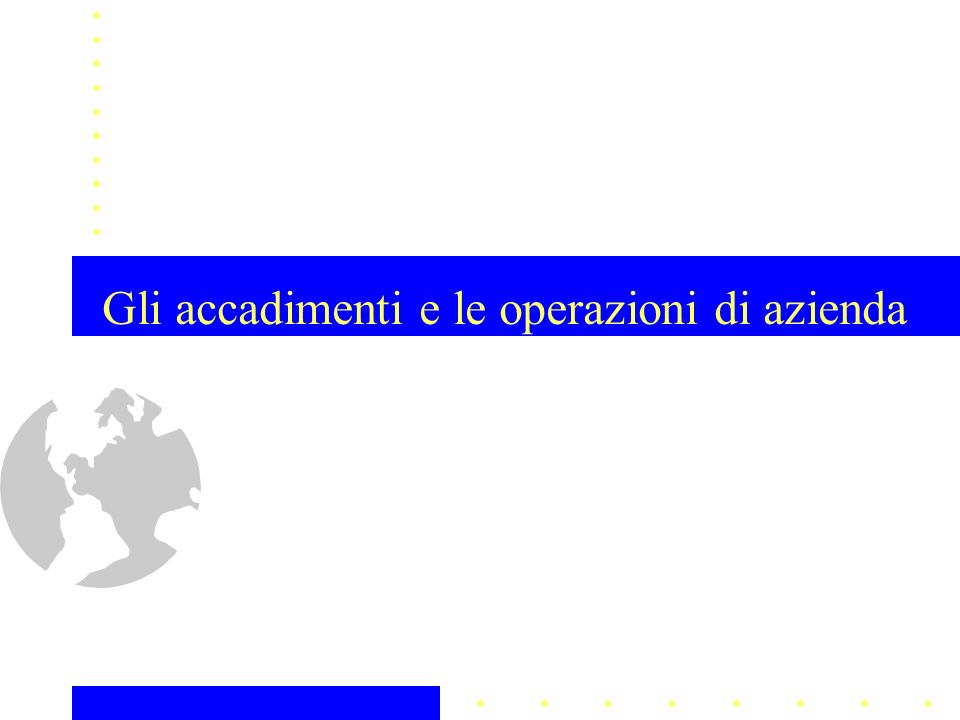 Gli accadimenti e le operazioni di azienda (§ 3.2.9) struttura… le operazioni di organizzazione la progettazione dellassetto organizzativo dellimpresa la gestione dei prestatori di lavoro 22