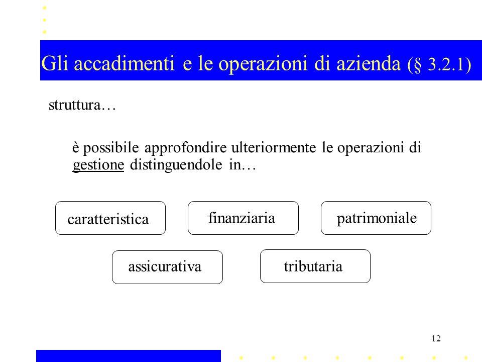 Gli accadimenti e le operazioni di azienda (§ 3.2.1) struttura… è possibile approfondire ulteriormente le operazioni di gestione distinguendole in… ca