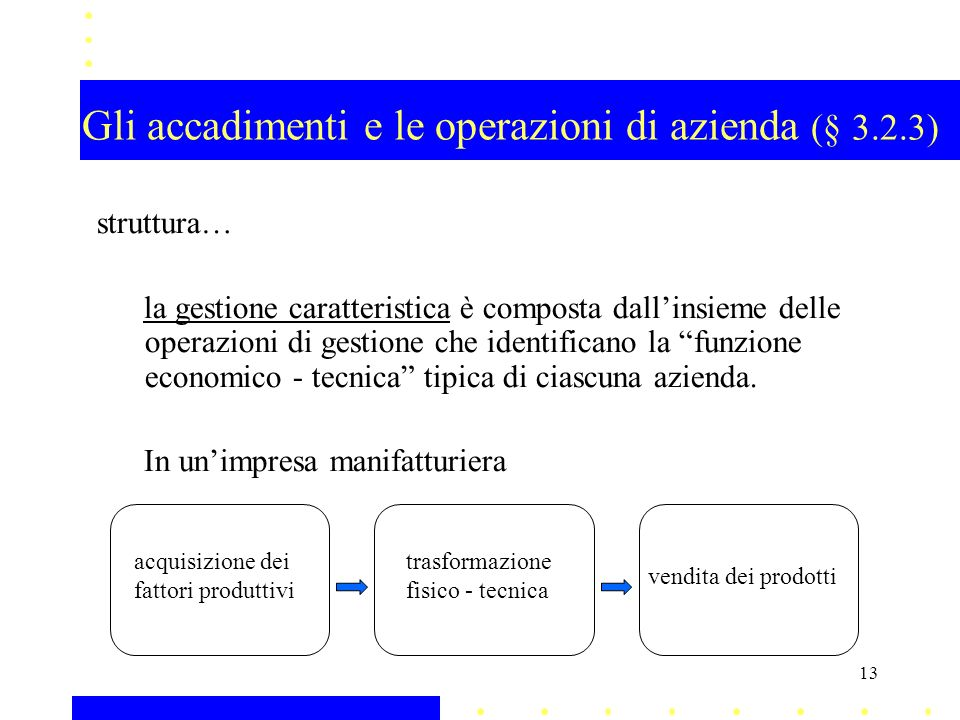 Gli accadimenti e le operazioni di azienda (§ 3.2.3) struttura… la gestione caratteristica è composta dallinsieme delle operazioni di gestione che ide