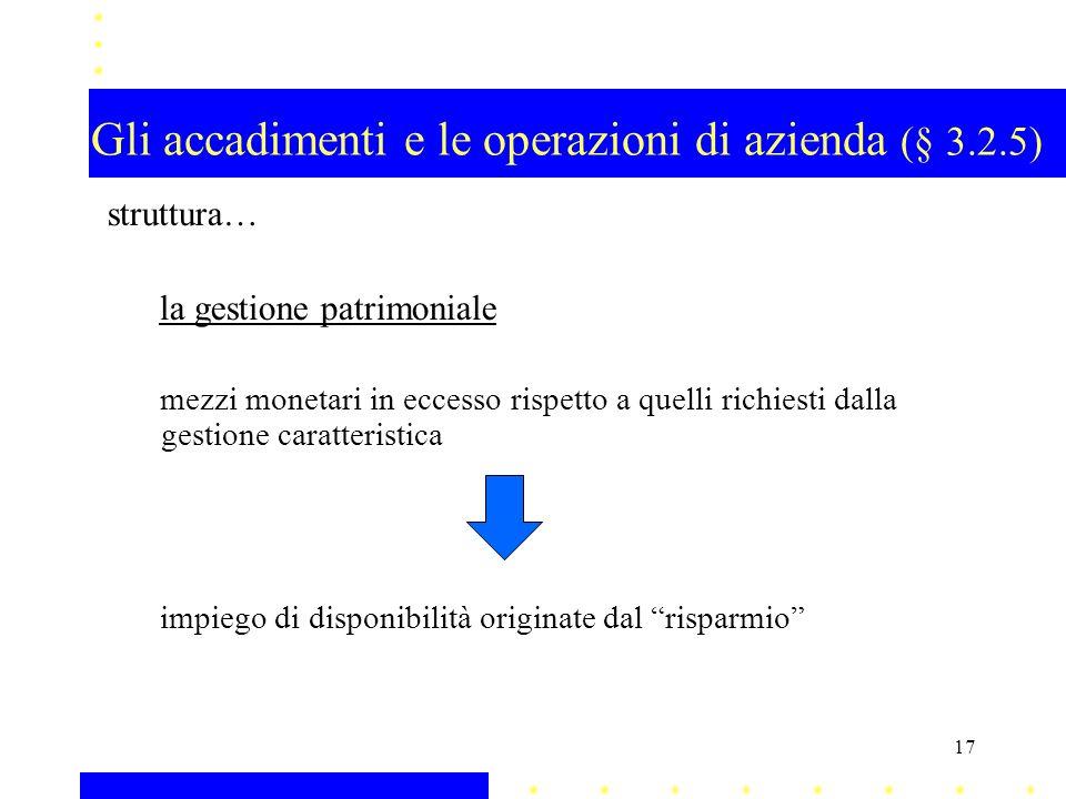 Gli accadimenti e le operazioni di azienda (§ 3.2.5) struttura… la gestione patrimoniale mezzi monetari in eccesso rispetto a quelli richiesti dalla g