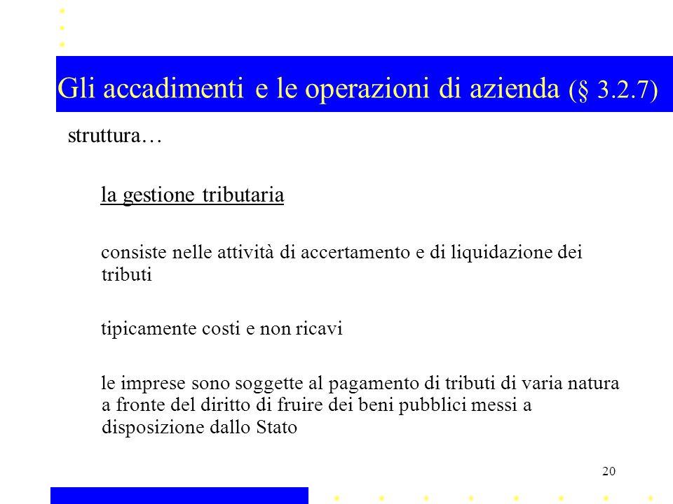 Gli accadimenti e le operazioni di azienda (§ 3.2.7) struttura… la gestione tributaria consiste nelle attività di accertamento e di liquidazione dei t