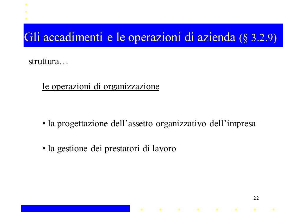 Gli accadimenti e le operazioni di azienda (§ 3.2.9) struttura… le operazioni di organizzazione la progettazione dellassetto organizzativo dellimpresa