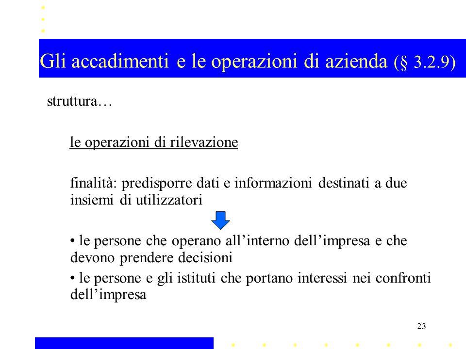 Gli accadimenti e le operazioni di azienda (§ 3.2.9) struttura… le operazioni di rilevazione finalità: predisporre dati e informazioni destinati a due