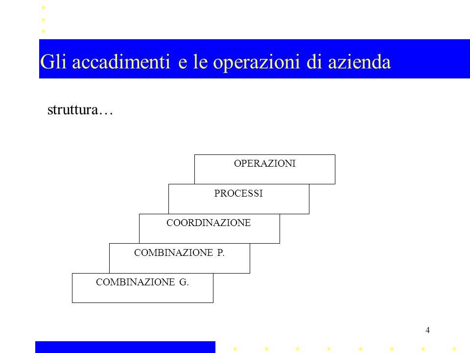 Gli accadimenti e le operazioni di azienda (§ 3.2.10) struttura… combinazioni economiche parziali aree di affari una combinazione economica parziale è una combinazione prodotto-mercato con propri caratteri distinti rispetto alle altre combinazioni prodotto-mercato attuate dalla stessa impresa 5