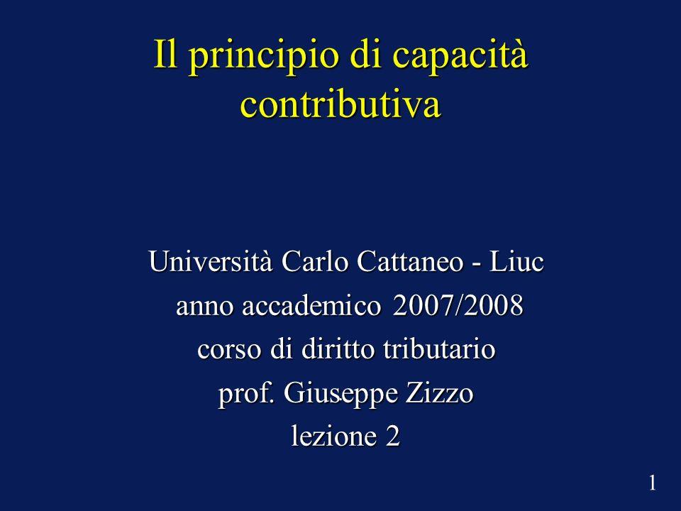 Il principio di capacità contributiva Università Carlo Cattaneo - Liuc anno accademico 2007/2008 anno accademico 2007/2008 corso di diritto tributario