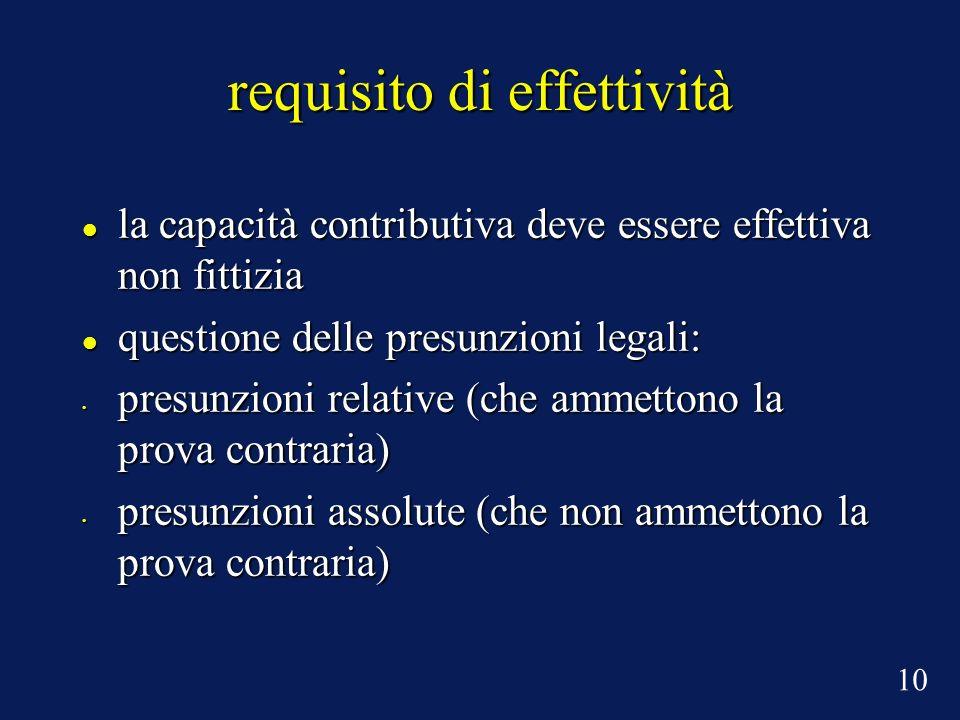 requisito di effettività la capacità contributiva deve essere effettiva non fittizia la capacità contributiva deve essere effettiva non fittizia quest