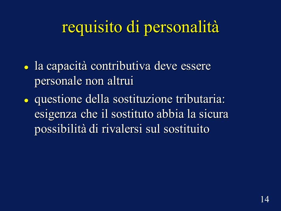 requisito di personalità la capacità contributiva deve essere personale non altrui la capacità contributiva deve essere personale non altrui questione