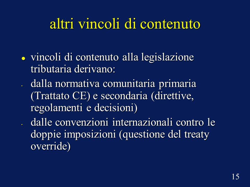 altri vincoli di contenuto vincoli di contenuto alla legislazione tributaria derivano: vincoli di contenuto alla legislazione tributaria derivano: dal