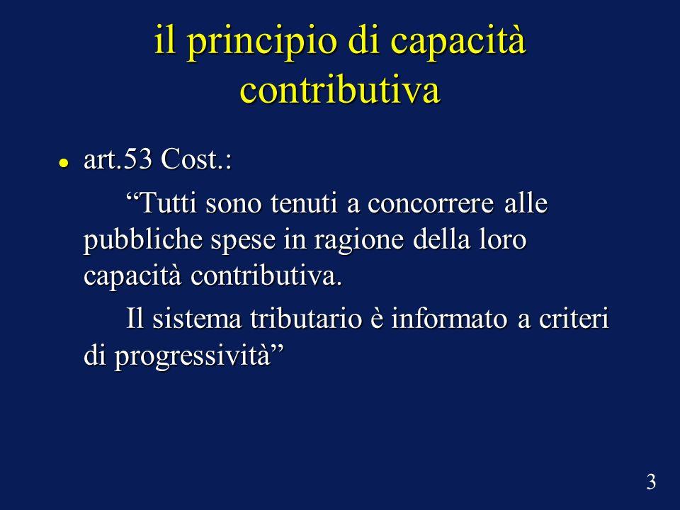 il principio di capacità contributiva art.53 Cost.: art.53 Cost.: Tutti sono tenuti a concorrere alle pubbliche spese in ragione della loro capacità c