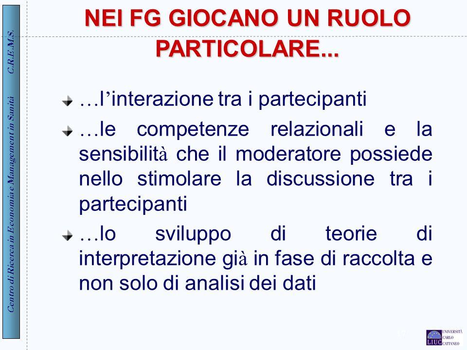 Centro di Ricerca in Economia e Management in Sanità C.R.E.M.S. 17 NEI FG GIOCANO UN RUOLO PARTICOLARE... … l interazione tra i partecipanti … le comp