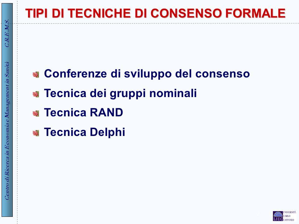 Centro di Ricerca in Economia e Management in Sanità C.R.E.M.S. 3 TIPI DI TECNICHE DI CONSENSO FORMALE Conferenze di sviluppo del consenso Tecnica dei