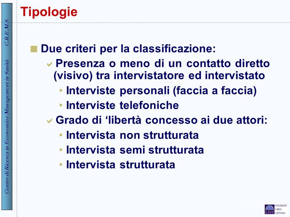 Centro di Ricerca in Economia e Management in Sanità C.R.E.M.S. 31 Tipologie Due criteri per la classificazione: Presenza o meno di un contatto dirett