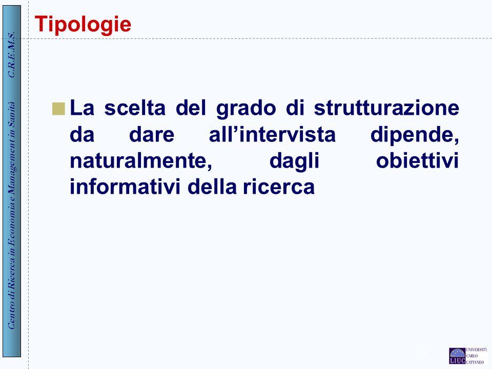Centro di Ricerca in Economia e Management in Sanità C.R.E.M.S. 32 Tipologie La scelta del grado di strutturazione da dare allintervista dipende, natu