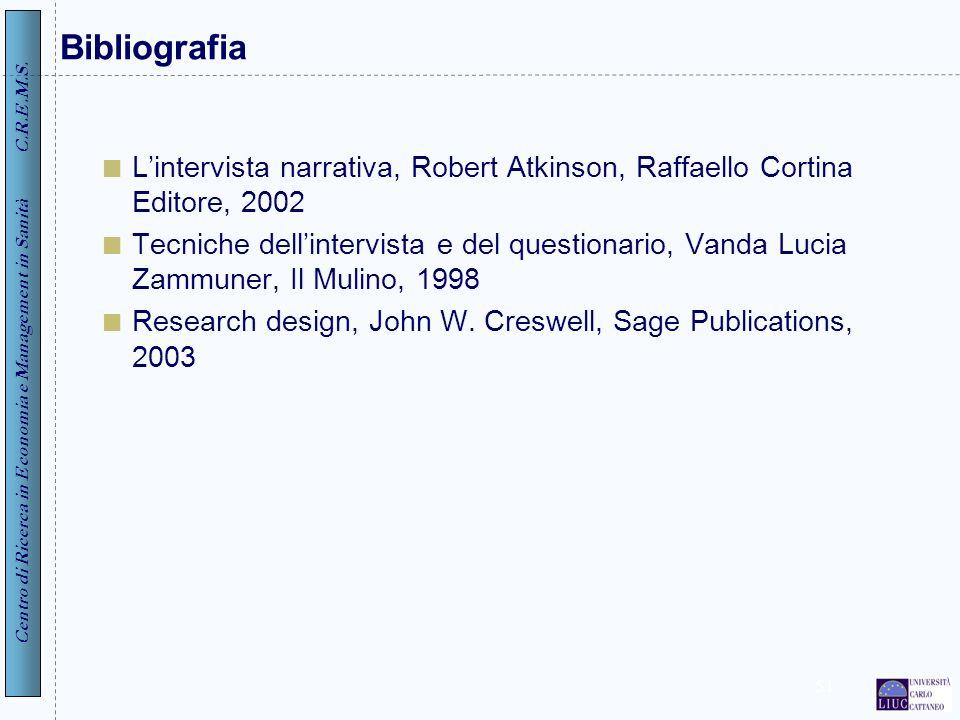 Centro di Ricerca in Economia e Management in Sanità C.R.E.M.S. 51 Bibliografia Lintervista narrativa, Robert Atkinson, Raffaello Cortina Editore, 200