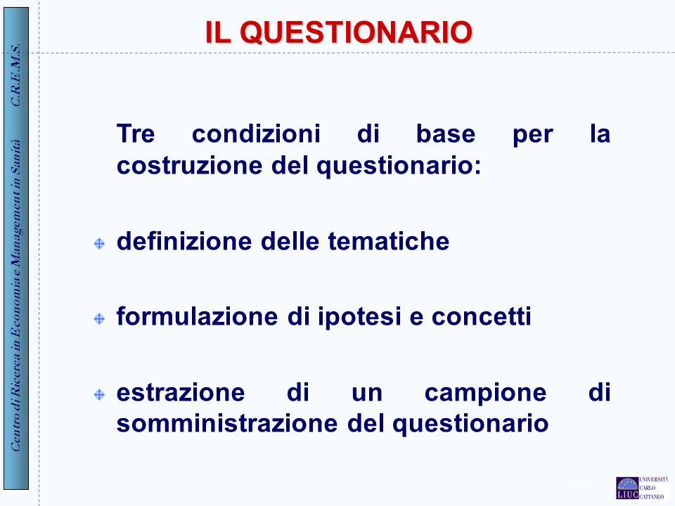 Centro di Ricerca in Economia e Management in Sanità C.R.E.M.S. 53 IL QUESTIONARIO Tre condizioni di base per la costruzione del questionario: definiz