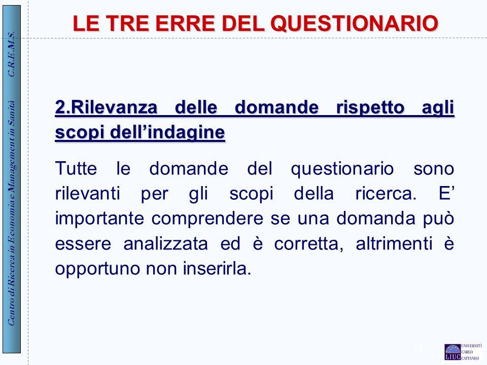 Centro di Ricerca in Economia e Management in Sanità C.R.E.M.S. 55 2.Rilevanza delle domande rispetto agli scopi dellindagine Tutte le domande del que