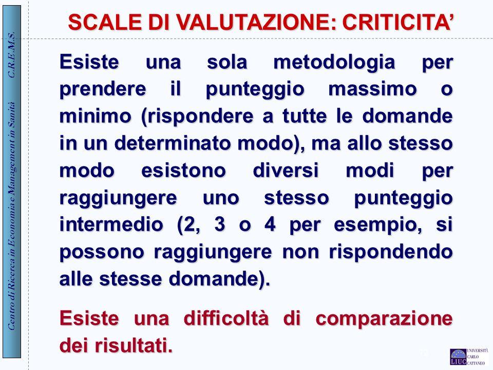 Centro di Ricerca in Economia e Management in Sanità C.R.E.M.S. 72 SCALE DI VALUTAZIONE: CRITICITA Esiste una sola metodologia per prendere il puntegg