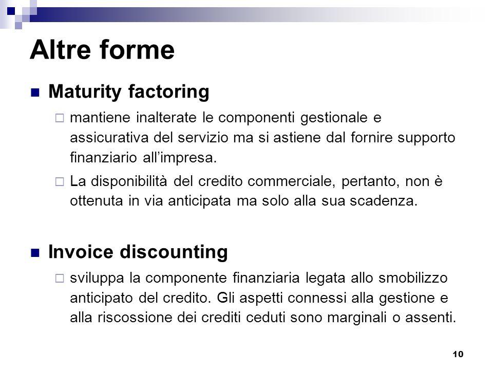 10 Altre forme Maturity factoring mantiene inalterate le componenti gestionale e assicurativa del servizio ma si astiene dal fornire supporto finanzia
