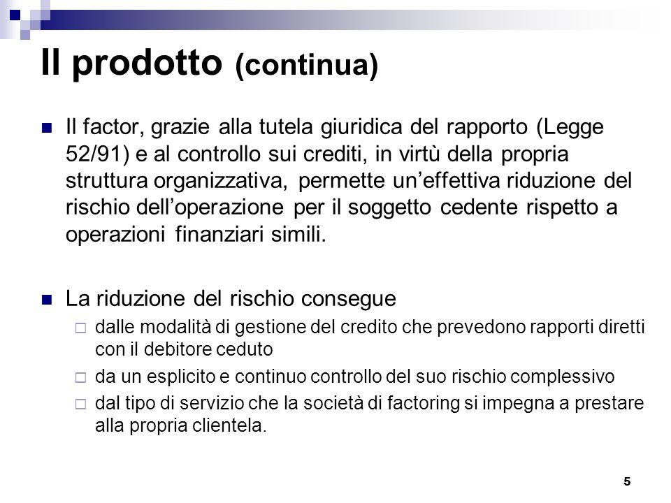 5 Il prodotto (continua) Il factor, grazie alla tutela giuridica del rapporto (Legge 52/91) e al controllo sui crediti, in virtù della propria struttu