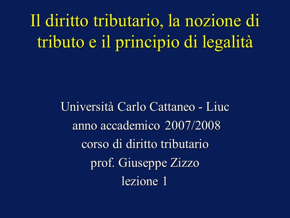 Il diritto tributario, la nozione di tributo e il principio di legalità Università Carlo Cattaneo - Liuc anno accademico 2007/2008 anno accademico 200