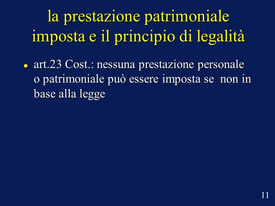 la prestazione patrimoniale imposta e il principio di legalità art.23 Cost.: nessuna prestazione personale o patrimoniale può essere imposta se non in