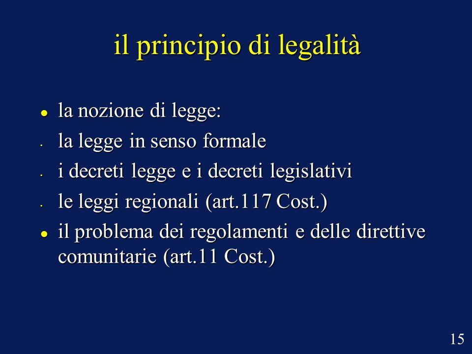 il principio di legalità la nozione di legge: la nozione di legge: la legge in senso formale la legge in senso formale i decreti legge e i decreti leg